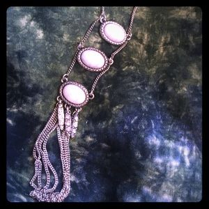 Jewelry - STERLING SILVER!Three stone necklace with tassel.